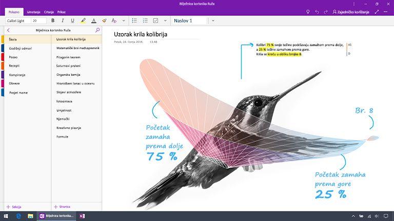Snimka zaslona aplikacije OneNote za Windows 10