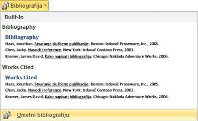 Kliknite Umetanje Bibliografija