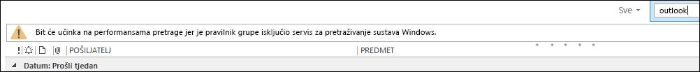Pretraživanje radne površine sustava Windows je onemogućeno