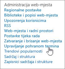 Termina vezu za Upravljanje spremištem u odjeljku postavke web-mjesta