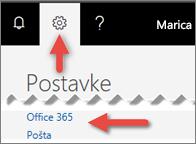 Slika koja pokazuje gdje kliknuti Postavke.