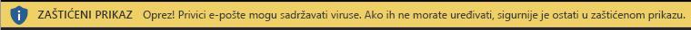 Zaštićeni prikaz za privitke e-pošte koji se smatraju nepouzdanima
