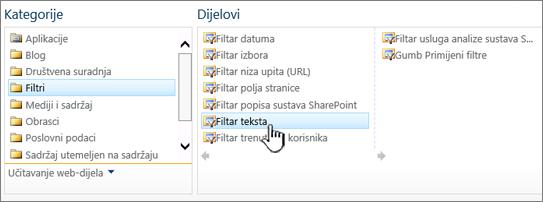 Odabir web-dijela filtar teksta