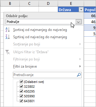Izbornik Filtar, izbornik Prikaz vrijednosti, navedena polja povezane vrste podataka