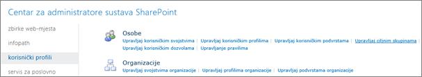 Upravljanje ciljnim skupinama vezu na stranici profila korisnika