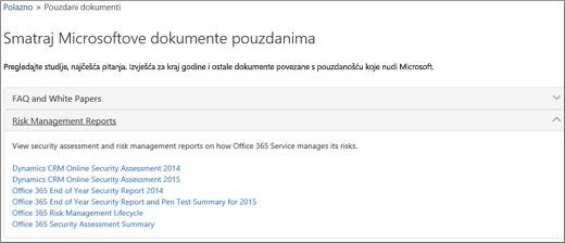Pokazuje stranicu servisnog jamstva: Pouzdani dokumenti od Microsofta