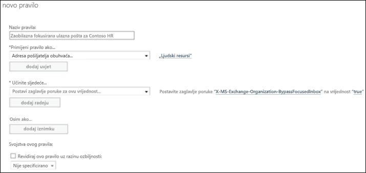 Snimka zaslona: Stvaranje i spremanje novog pravila fokusirane ulazne pošte