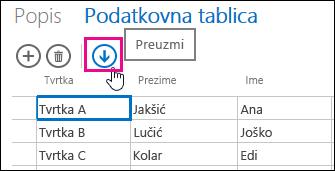 Slika trake programa Excel