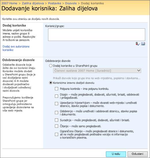 Dijaloški okvir Dodavanje korisnika