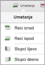 izbornik umetanja tablice za iPad