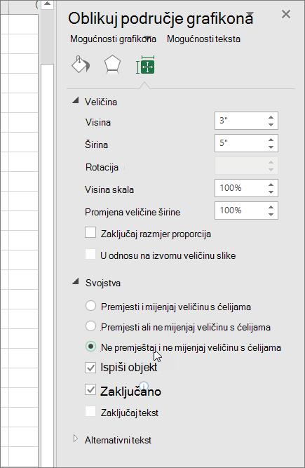 Svojstva u oknu oblikovanje područja grafikona
