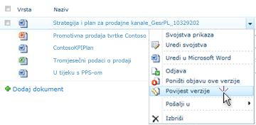 Padajući popis za datoteku sustava SharePoint. Odabrana je Povijest verzije.