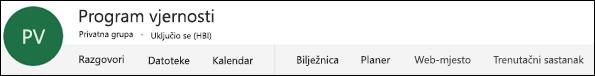 Zaglavlje grupe sustava Office 365