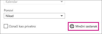 Outlook Web App, gumb Mrežni sastanak