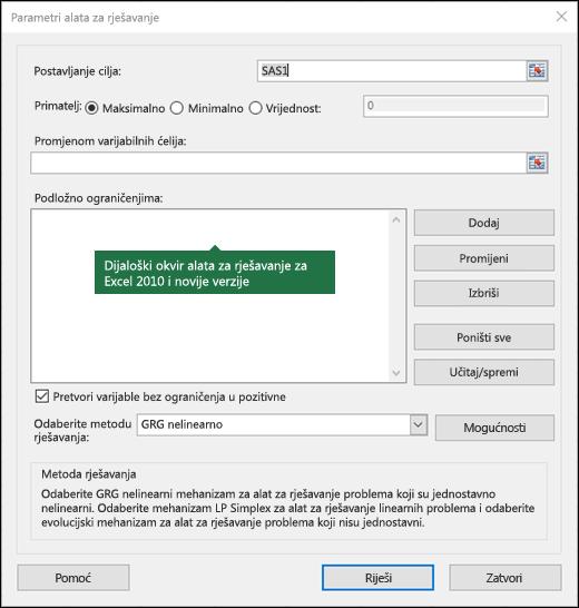Slika dijaloškog okvira Excel 2010 + alata za rješavanje