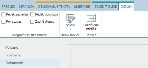 Snimka zaslona koja prikazuje vrpcu sustava SharePoint Online. Upotrijebite karticu Dizajn da biste potvrdili okvire za redak zaglavlja, redak podnožja, prvi stupac i posljednji stupac u tablici te odabrali stilove tablice i naveli koristi li ona crte rešetke.