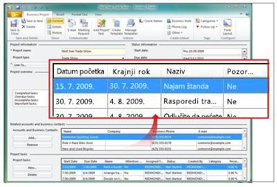 Zapis poslovnog projekta koji prikazuje projektne zadatke