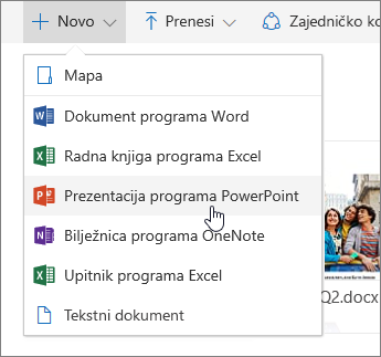 Snimka zaslona koja prikazuje kako stvoriti datoteku ili mapu na servisu OneDrive