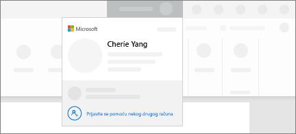 Konceptualna snimka zaslona s prikazom značajke za prebacivanje računa