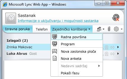 Izbornik zajedničkog korištenja web-aplikacije Lync Web App