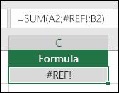 Excel pogrešku #REF! prikazuje kada referenca ćelije nije valjana.