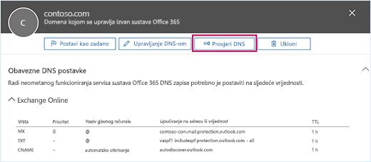 Snimka zaslona prikazuje stranicu potrebnih DNS postavki s fokusom na gumbu Provjeri DNS.
