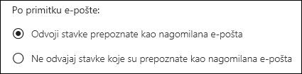 Nagomilana pošta u programu Outlook na webu