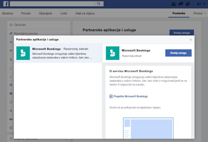 Snimka zaslona koja prikazuje Dodavanje servisa u oknu partnera aplikacijama i servisima.
