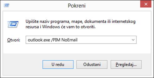 Stvaranje profila bez e-pošte pomoću dijaloškog okvira za pokretanje