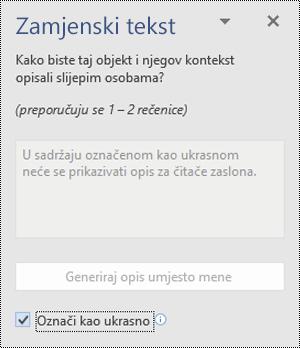 ALT tekstno okno s označavanje u obliku ukrasne odabranoj mogućnosti u programu Word za Windows.