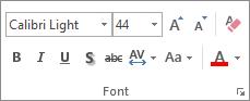 Mogućnosti u grupi Font