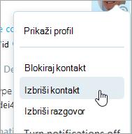Snimka zaslona mogućnost Izbriši kontakt u kontaktu Kontekstni izbornik servisa Skype