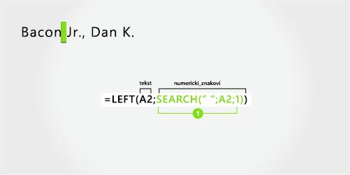 formula za razdvajanje prezimena i sufiksa na prvom mjestu, sa zarezom