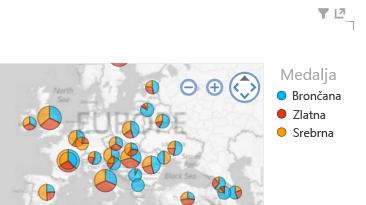 primjena boje na grafički prikaz karte u značajci Power View