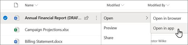 Mogućnost Otvori > otvori u izborniku aplikacija odabrana za datoteku programa Word na portalu servisa OneDrive na internetu