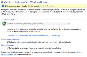 Postavke servisa Windows Update na upravljačkoj ploči sustava Windows 8