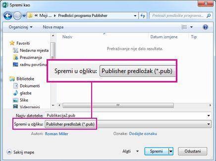 Spremanje publikacije u obliku predloška radi ponovnog korištenja