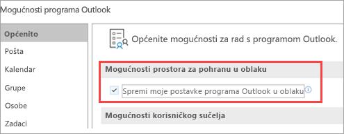 Prikaži mogućnosti Outlook postavki