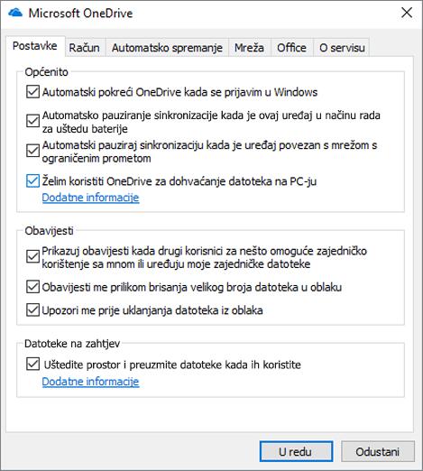 Kartica općih postavki na servisu OneDrive prikazuje omogućenu mogućnost dohvaćanja
