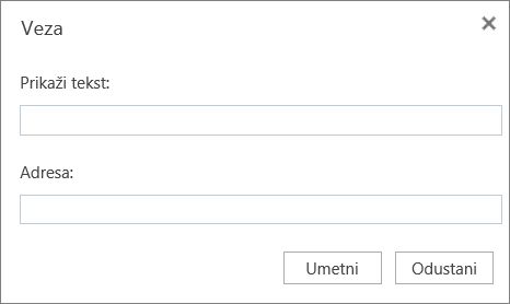 Snimka zaslona s prikazom dijaloškog okvira Veza u kojemu možete navesti tekst za prikaz i podatke o adresi za hiperveze.