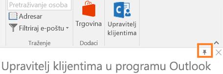 PIN-a ikona n gornjem desnom kutu aplikacije