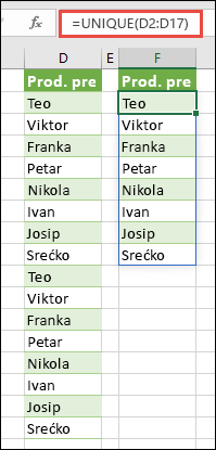 Sortiranje popisa imena pomoću funkcije UNIQUE