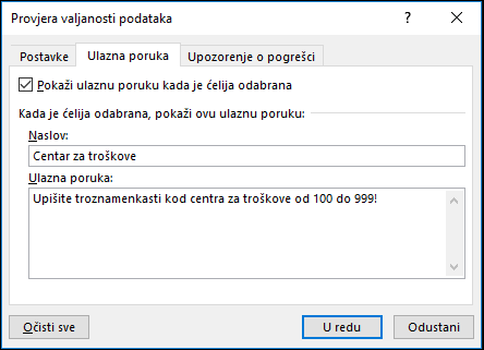 Poruka o unosu postavke u dijaloškom okviru Provjera valjanosti podataka