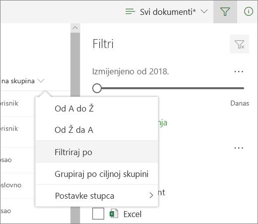 Kliknite filtriranje po da biste otvorili ploču filtra