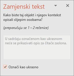 Potvrdni okvir Označi kao dekorativan u programu PowerPoint za Windows