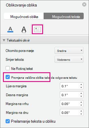 Promjena veličine teksta u oblik istaknuta je u oknu oblikovanje oblika.