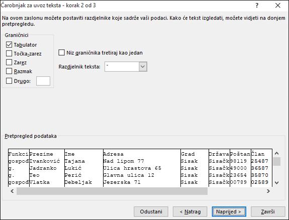 U čarobnjaku za uvoz teksta istaknute su mogućnosti za graničnike.