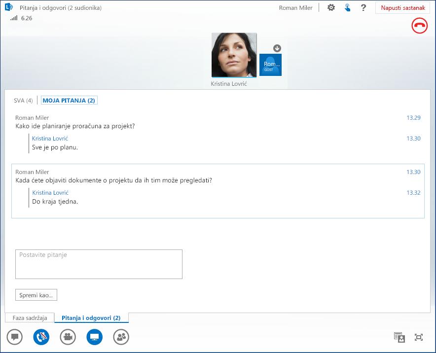 Snimka zaslona sa sesijom pitanja i odgovora