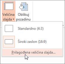 kliknite prilagođena veličina slajda