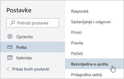Snimka zaslona izbornika postavke s Bezvrijedna e-pošta odabrana